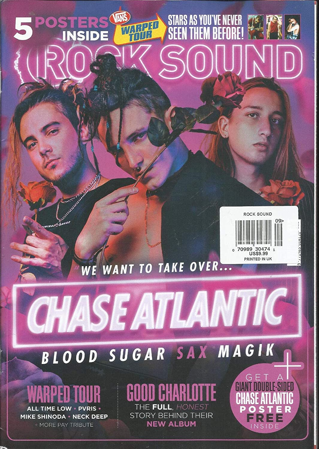 ROCK SOUND MAGAZINE, CHASE ATLANTIC ISSUE, 2018 FREE POSTERS INCLUDED. s3457