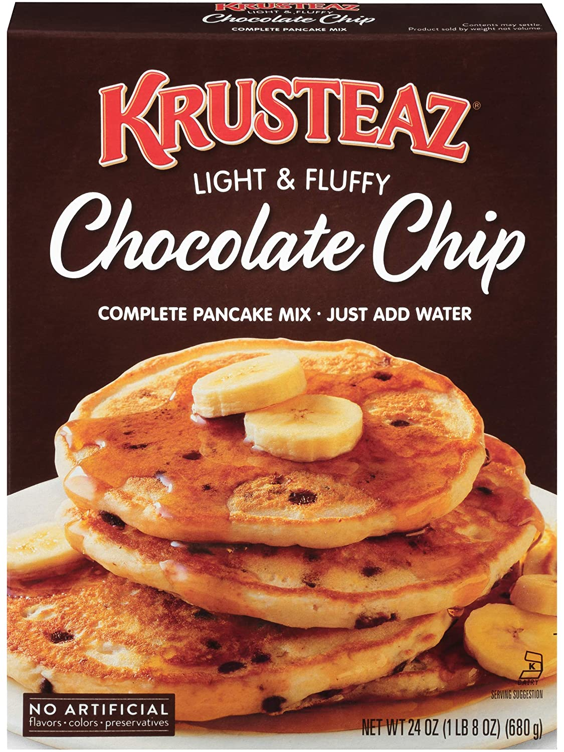 Amazon Com Krusteaz Light Fluffy Complete Pancake Mix Chocolate Chip No Artificial Flavors Colors Or Preservatives 24 Oz Pack Of 2 Grocery Gourmet Food