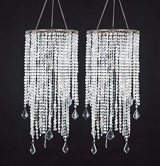 FlavorThings 2pcs Sparkling Iridescent Hanging Chandelier,W8.5″X H20.5″,Great idea