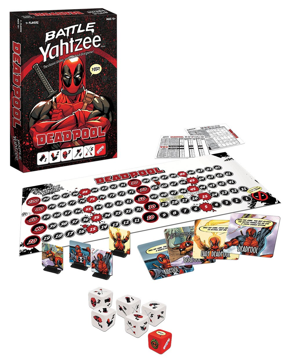 BATTLE YAHTZEE: Marvel Deadpool Board Game by USAOPOLY (Image #2)