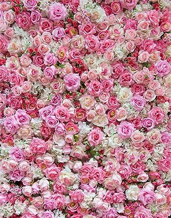 Fiori Rosa E Bianchi.Fondale Fotografico In Vinile Con Stampa Digitale 3d Con Fiori