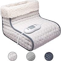Elektrische voetenwarmer met 3 temperatuurniveaus, knuffelzacht, warme teddyvoering, machinewasbaar tot 30 °C, dubbel…