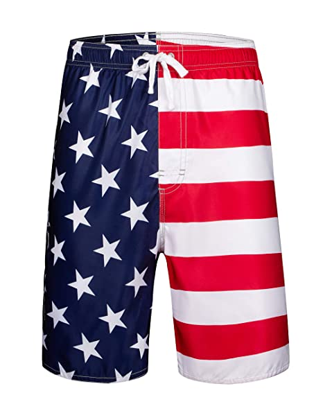 6834e97afd Clothin Men's Boardshort Swim Trunks Beach Quick Dry Swimming Shorts(USA  Flag(Elastic)