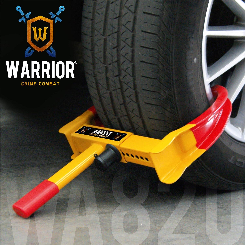 WARRIOR WA820 Cepo Antirrobo Rueda Coche Remolque Caravana Universal Ajustable Protección pvp Cerradura antitaladro