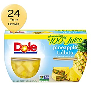 DOLE FRUIT BOWLS Pineapple Tidbits in Juice, 4 Cups (6 Pack)