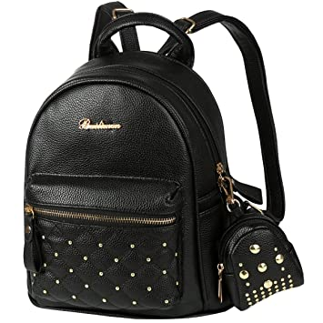 Vbiger 2 in 1 PU Leather School Bag Student Book Bag Casual Outdoor Daypack  for Women d8ba6a17cab4f