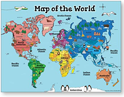 Póster de mapa del mundo para niños (mapa del mundo laminado de 18 ...