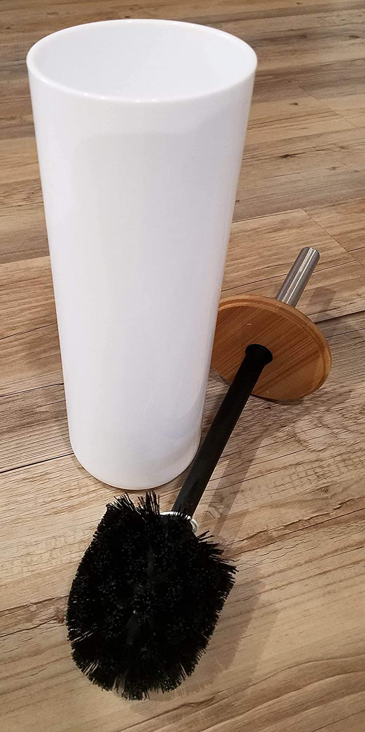 Brown Evideco Bathroom Free Standing Toilet Bowl Brush and Holder Padang White-Bamboo Top Cover White