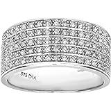 Naava 9ct White Gold Half Carat Multi Row Diamond Half Eternity Ring