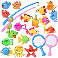 FUN LITTLE TOYS 22 PCs Bath Toys for Toddlers, Outdoor Toys Fishing Game Playset...