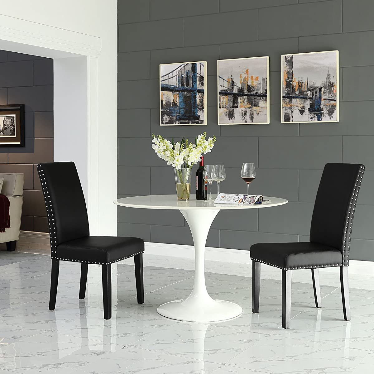 Modway Parcel Modern Upholstered Vinyl Parsons Dining Chair With Polished Nailhead Trim And Wood Legs In Black