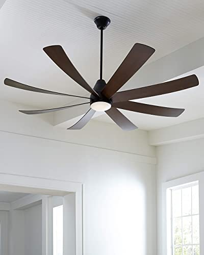 Monte Carlo 8KGR72BKD Kingston Modern Energy Star 72 Ceiling Fan with LED Light and Hand Remote Control, 8 ABS Blades, Matte Black