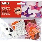 APLI - Bolsa formas fieltro animales, 18 uds