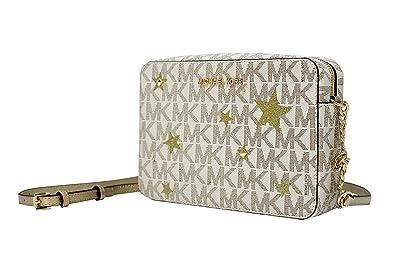 16470e771319 MICHAEL Michael Kors Illustration Women's Jet Set Travel Xbody Leather Bag Clutch  Wallet (Vanilla/