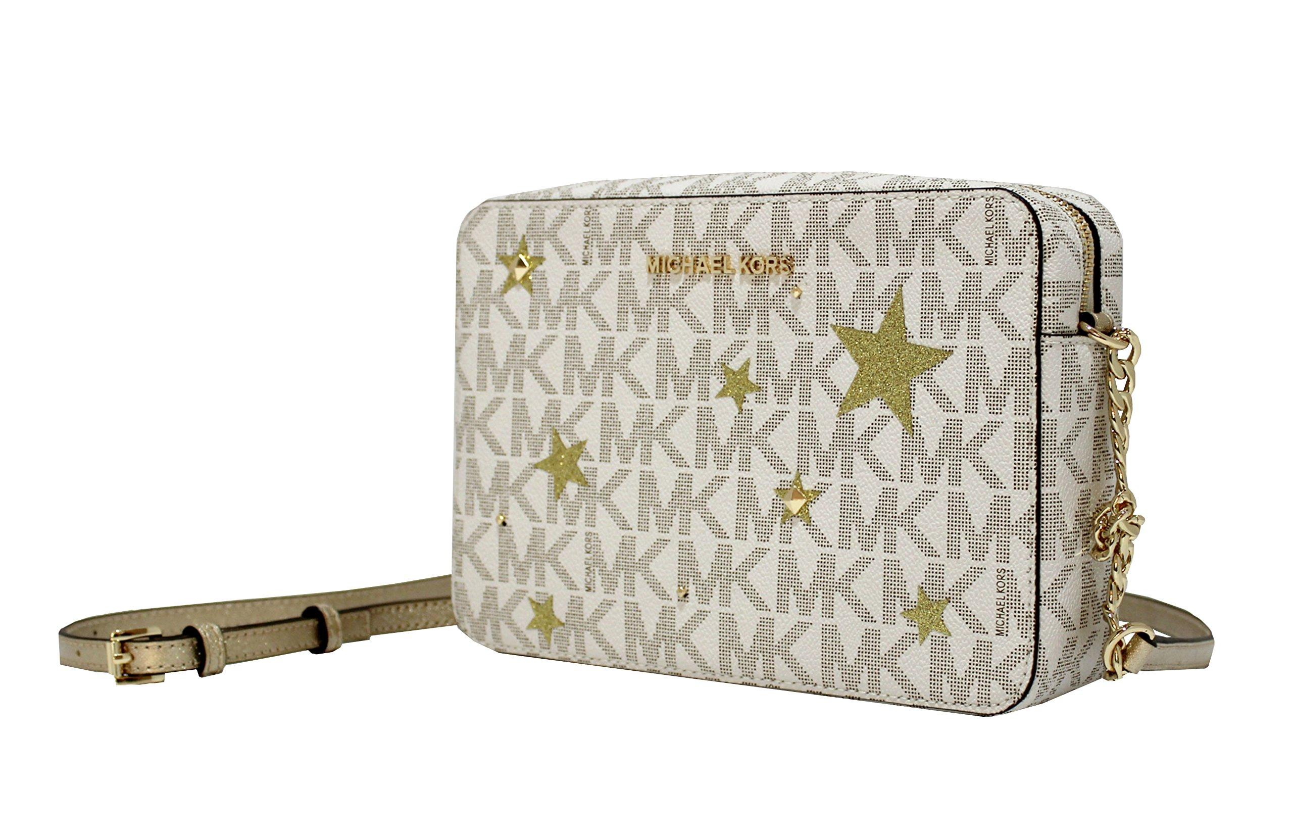 MICHAEL Michael Kors Illustration Women's Jet Set Travel Xbody Leather Bag Clutch Wallet (Vanilla/gold)