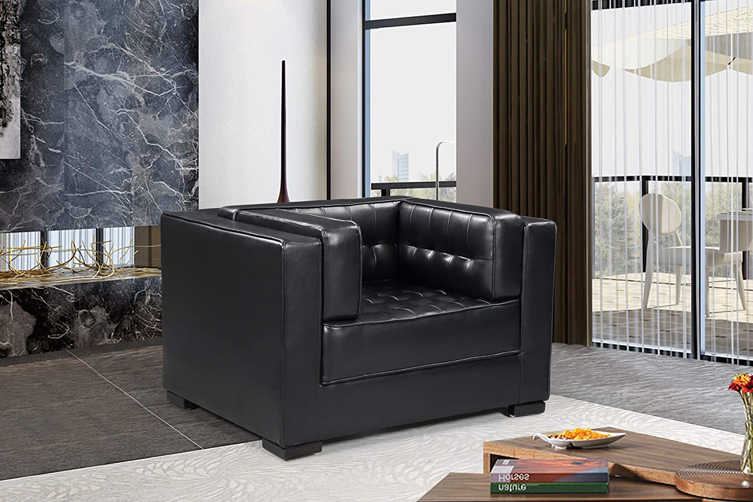 Iconic Home Lorenzo Accent Club Chair PU Leather Upholstered Tufted Shelter Arm Design Espresso Finished Wood Legs Modern Transitional, Black