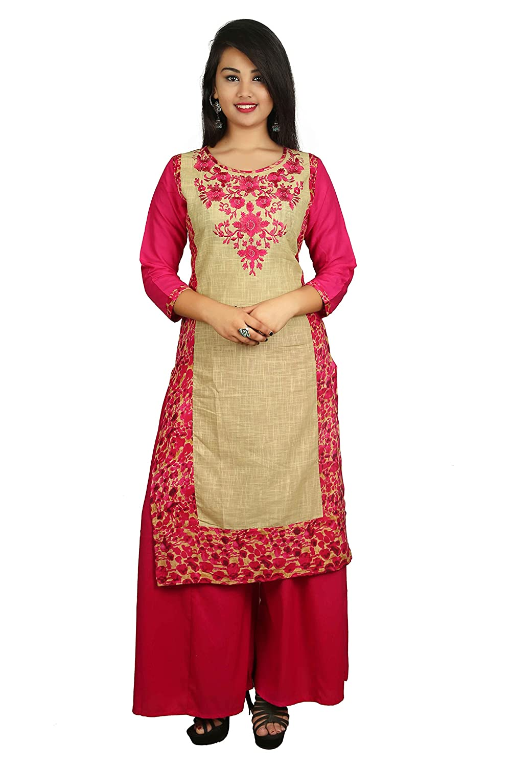 Pink Embroidered 3/4 Sleeve Cotton Women's Kurta and Palazzo Set Indian Handicrfats Export D08-Pink-Pink-XXL