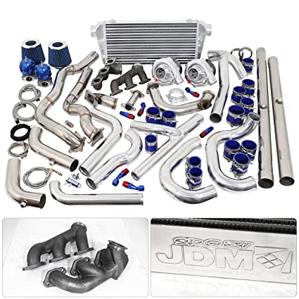 For Ford Mustang V6 3.8L Twin Turbo Charger Manifold Downpipe Intercooler Wastegate Oil Line Kit