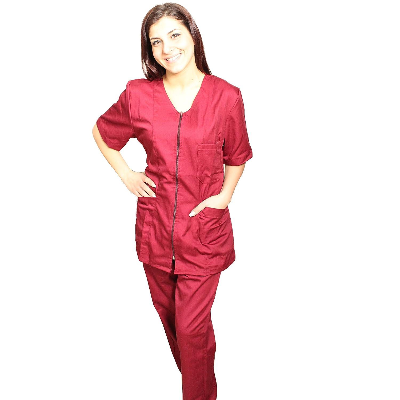 Petersabitidalavoro Divise-Complete-da-lavoro-Donna-Sanitaria-con-Zip-2-COLORI-Casacca-E-Pantalone Divise-Complete-da-Lavoro-Donna-Sanitaria