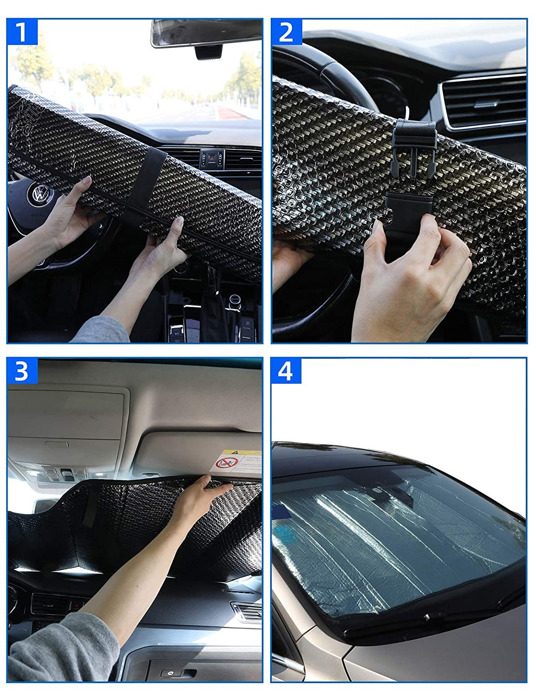 WOLFBOX Front Windshield Sun Shade-Accordion Folding Auto Sunshade for Car Truck SUV 58 x 27 Inch Black