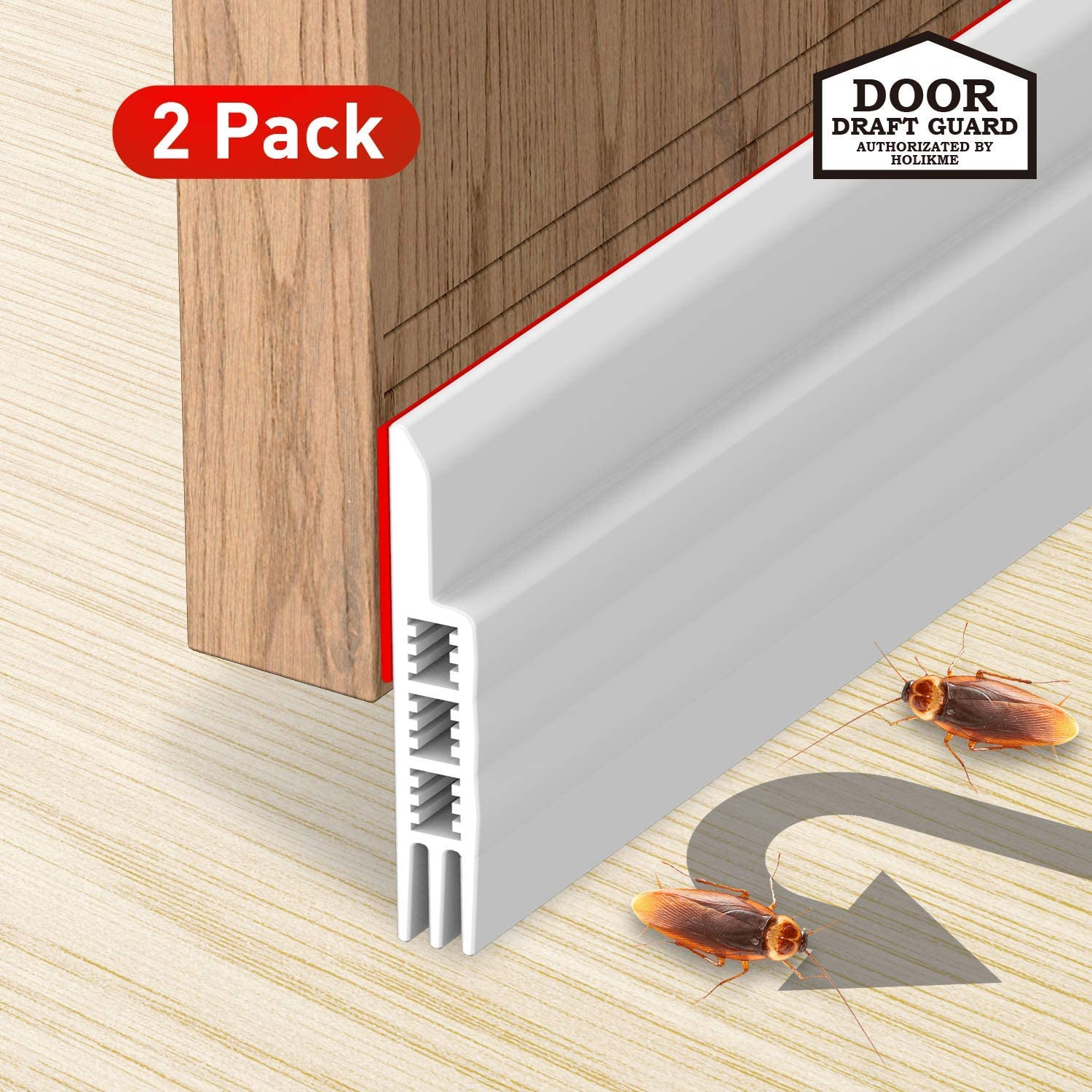 2 Pack Door Draft Stopper Under Door Draft Blocker Insulator Door Sweep Weather Stripping Noise Stopper Prevent Bugs Strong Adhesive White 39 Length