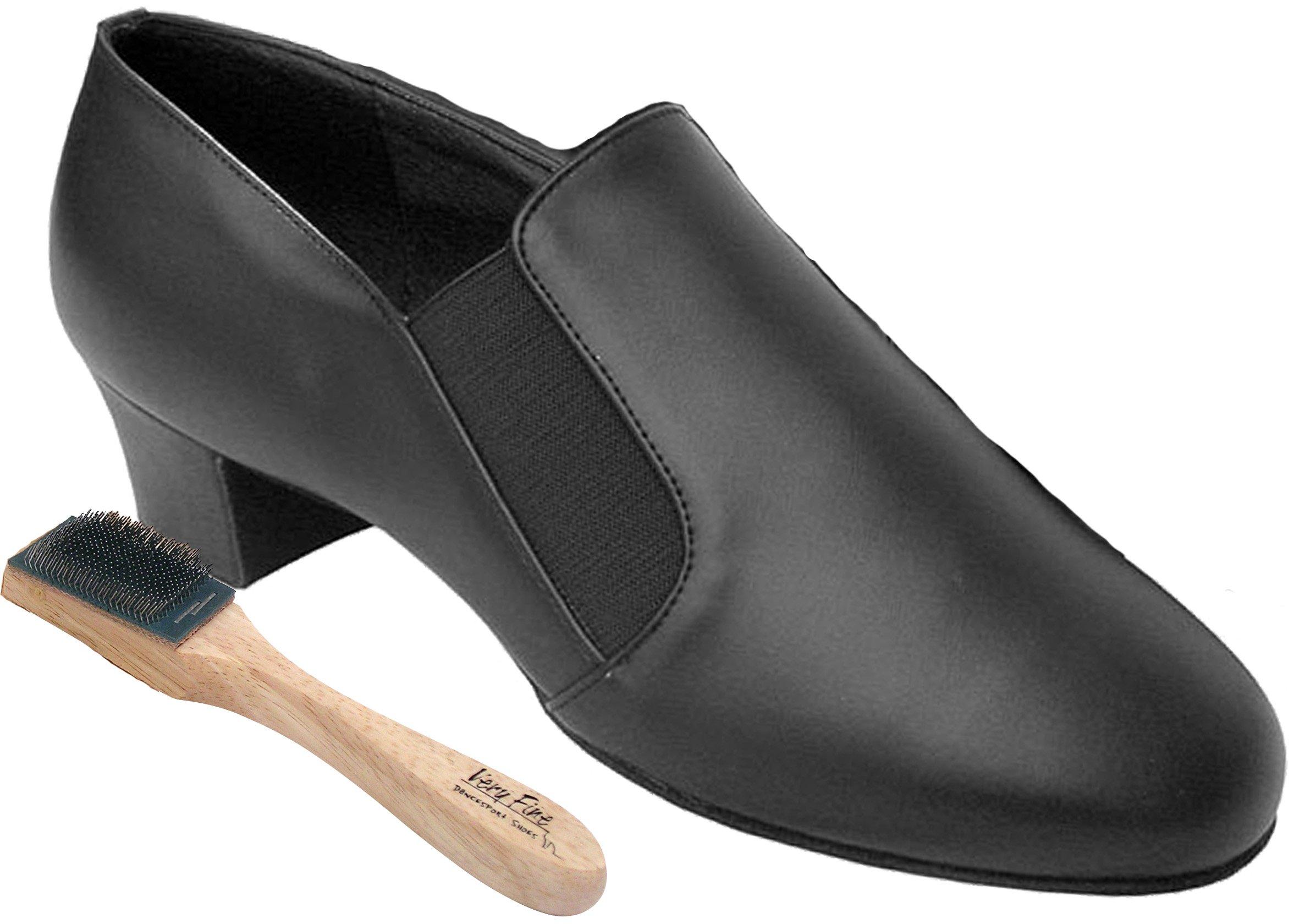 Very Fine Men's Salsa Ballroom Tango Latin Dance Shoes Style S805 Bundle with Dance Shoe Wire Brush, Black Leather 8.5 M US Heel 1.5 Inch