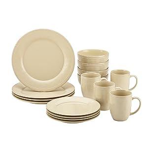 Rachael Ray Cucina Dinnerware 16-Piece Stoneware Dinnerware Set, Almond Cream