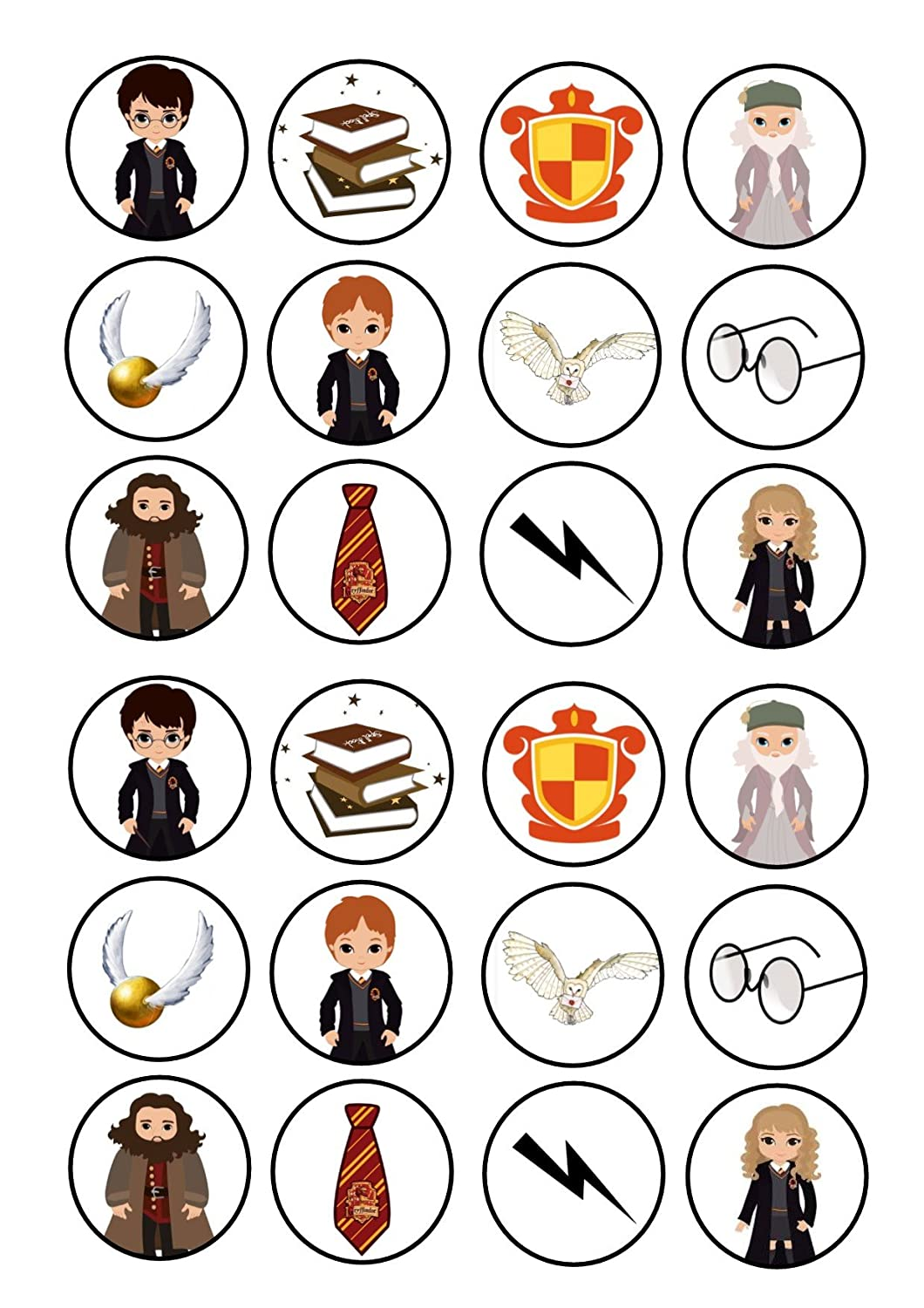 24 Nd2 Harry Potter Mixed Cake Toppers 4cm On Wafer Rice Paper