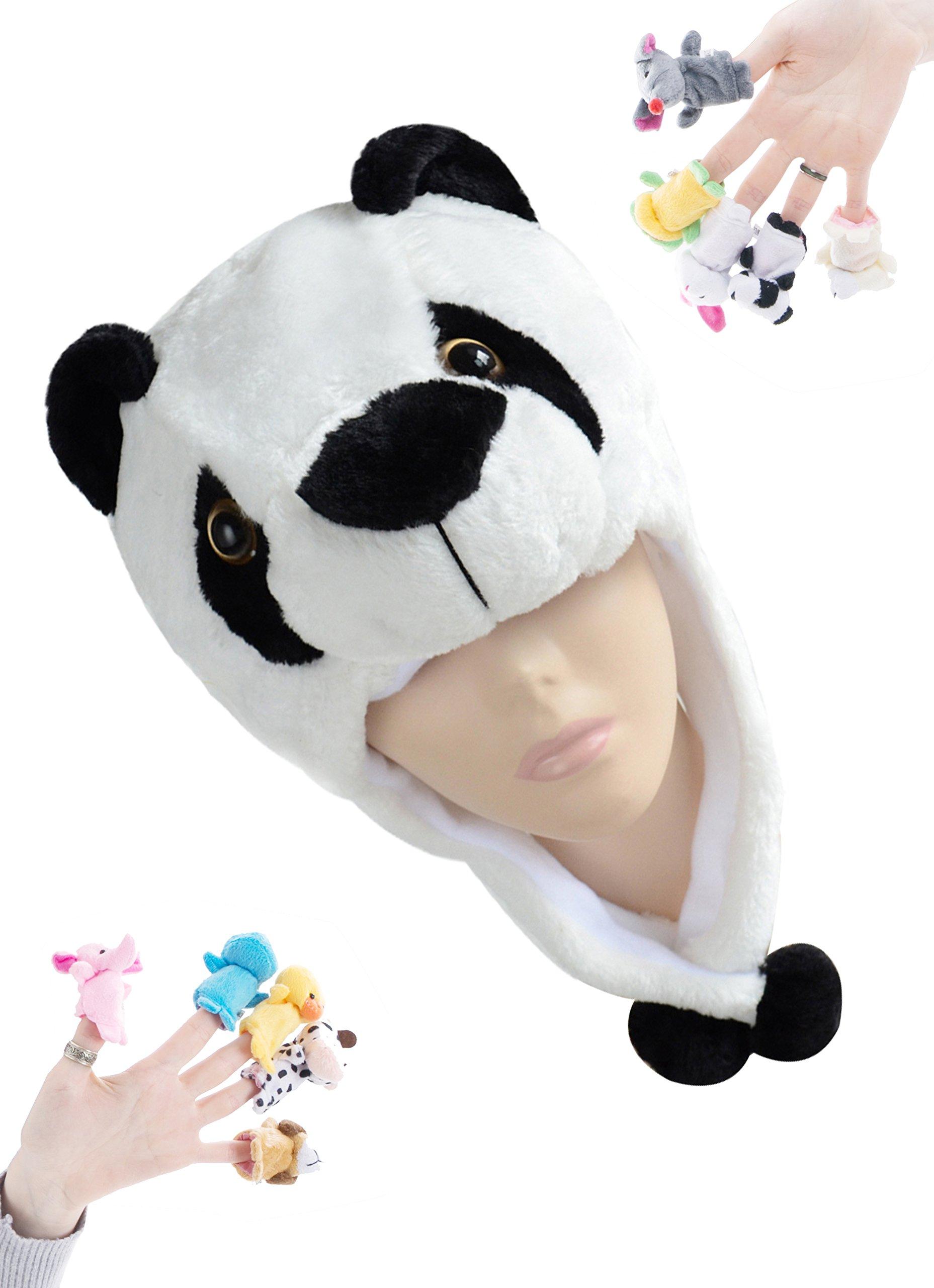 PULAMA Winter Animal Beanie Hats, Short Cartoon Caps with 10 Finger Puppets (Kung Fu Panda)