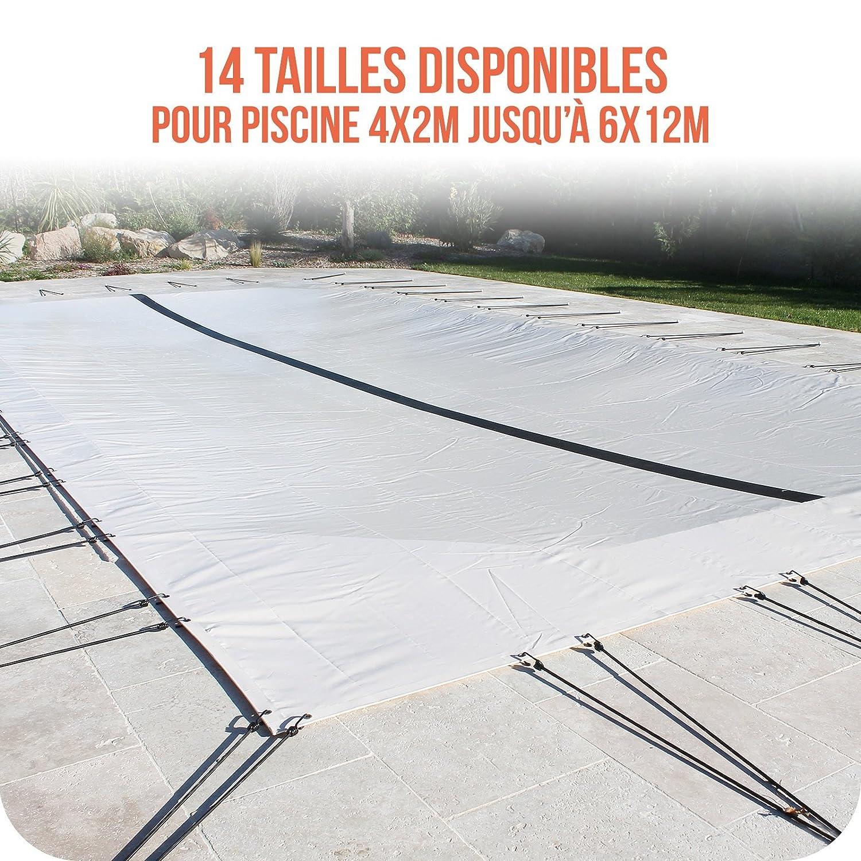 Linxor France Bche d'hivernage PVC beige 580g/m² pour piscine enterrée + accessoires - 14 tailles disponibles - Norme CE EGK