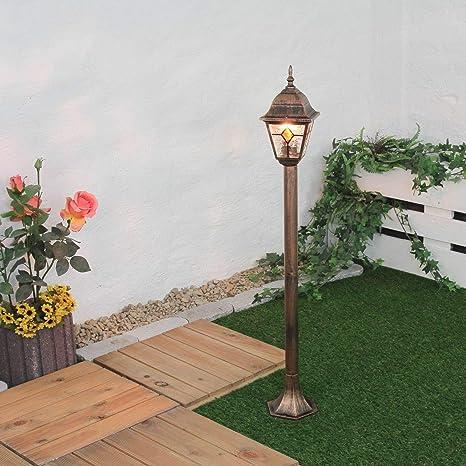 Lámpara de pie para exterior cobre vidrio antiguo estilo ...