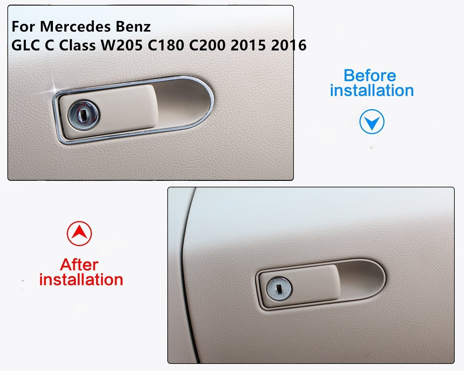 car-styling accessori in lega di alluminio Key hole Trim adesivi per Glc classe C W205/ C180/ C200/ 2015/ 2016