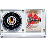 $69 » Bobby Hull Signed Chicago Blackhawks NHL Puck and Stanley Cup Inscription & Display Case & Card - PSA DNA COA Authenticated