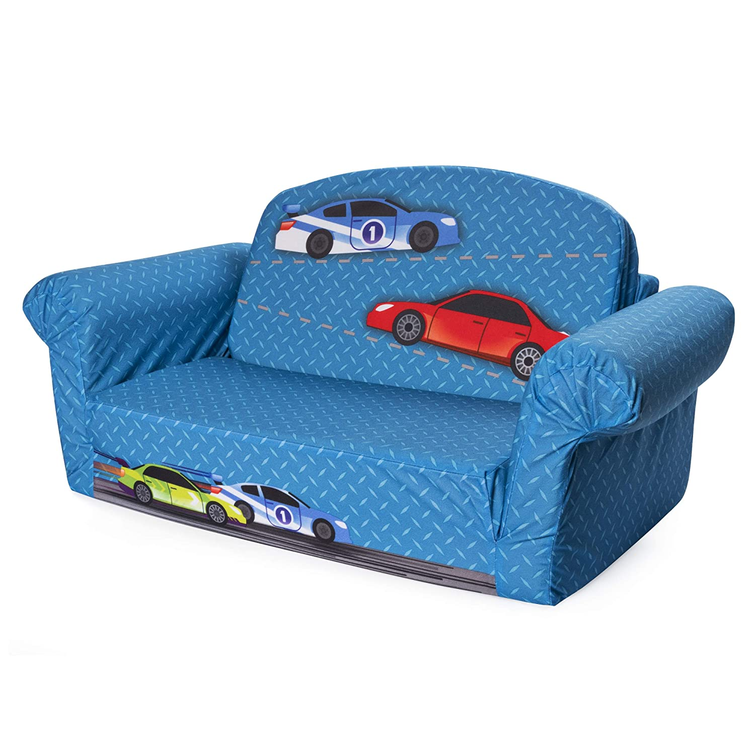 Marshmallow Furniture - Children's 2 in 1 Race Car Flip Open Foam Sofa