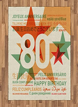 Ambesonne 80th Birthday Area Rug 80 Years Old Party With Universal Happy Best Wish