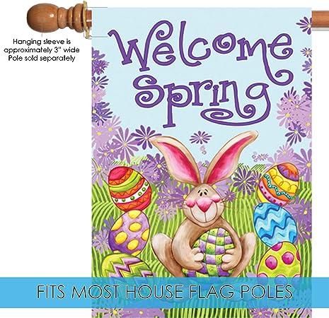 Amazon Com Toland Home Garden 101174 Welcome Spring 28 X 40 Inch Decorative 28 X 40 Double Sided House Flag Outdoor Flags Garden Outdoor