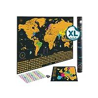 Mappa Mondo da grattare Edizione XXL - Un planisfero in formato poster extra large + una cartina d'Europa bonus da grattare. Include un tubo regalo personalizzato e 2 coloratissime mappe dettagliate (Planisfero e cartina d'Europa) che mostrano capitali, riferimenti storici nascosti, meraviglie del mondo, la suddivisione degli Stati Uniti e tutte le bandiere dei Paesi. Il pacchetto regalo include uno strumento per grattare con precisione e degli adesivi ricordo per i viaggi.
