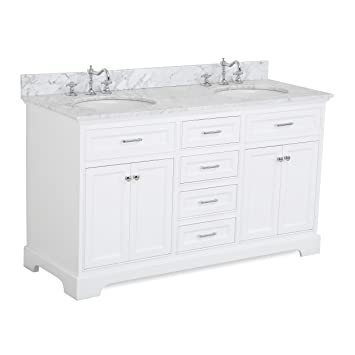 Aria 60 Inch Double Bathroom Vanity (Carrara/White): Includes A White