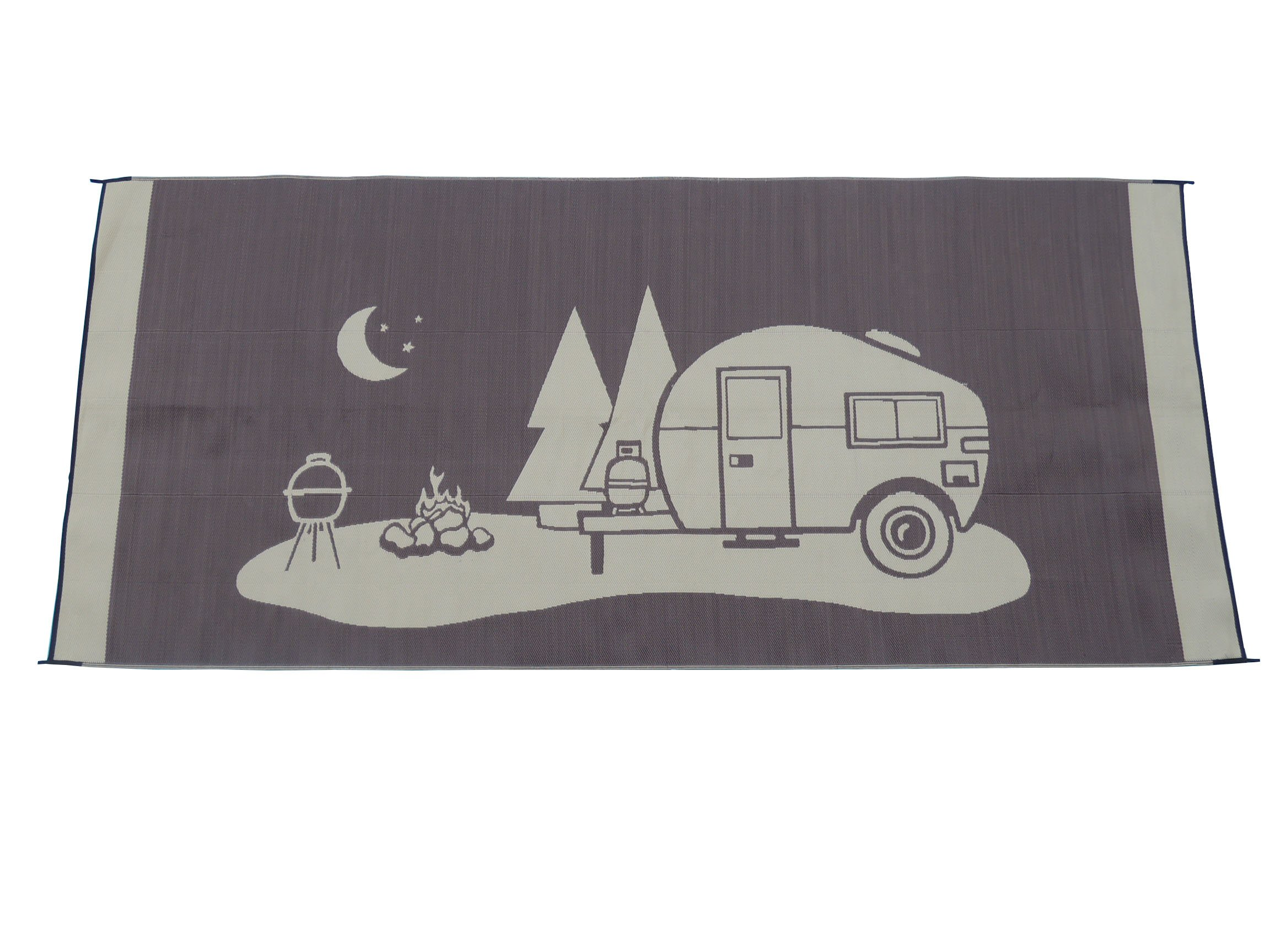 Snowbird Light Reversible Mat- Happy Camping (8 ft. x 18 ft, Brown)