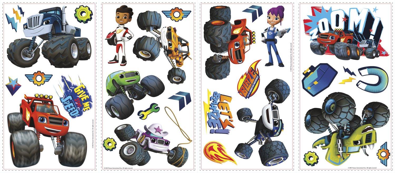 Blaze y el monstruo máquinas adhesivos de pared (28 piezas): Amazon.es: Juguetes y juegos