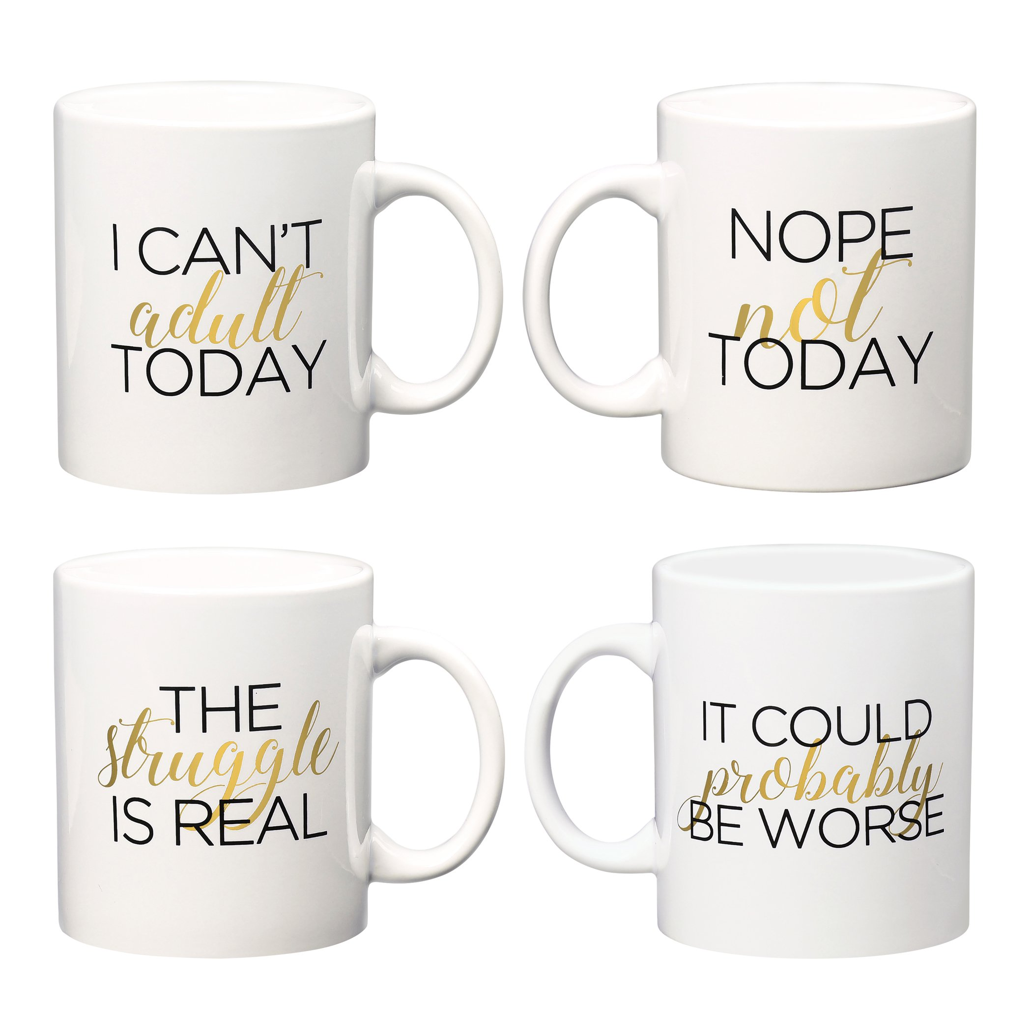 Amici Home, 7CW005AS4R, Adulting Coffee Mug Collection, Ceramic Coffee Mugs, Microwave Safe, Dishwasher Safe, 32 Ounces, Assorted Set of 4