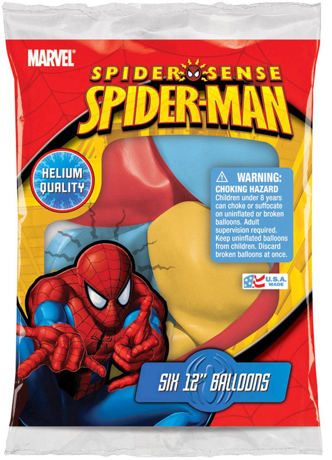 Spider-Man 12'' Assorted Color Balloons, 6 balloons per pack, Pack of 6
