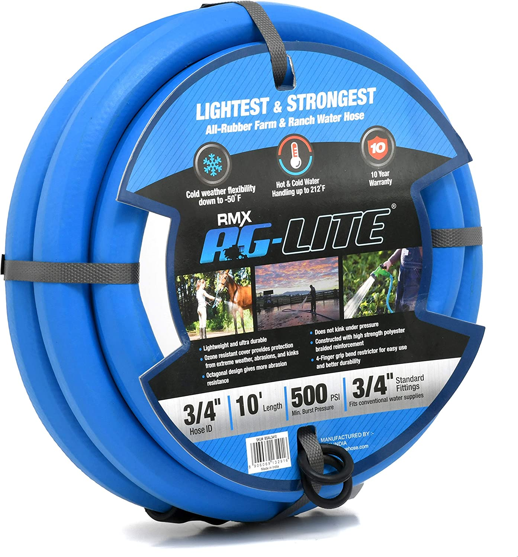 """AG-Lite Rubber Hot & Cold Water Rubber Garden Hose: Ultra-Light & Super Strong (3/4"""" x 10') - BSAL3410"""