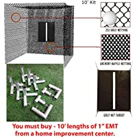 Select Golf Hitting Net, Baffle, and Golf Net Target with DIY Frame Corners - 10' Poles NOT Included
