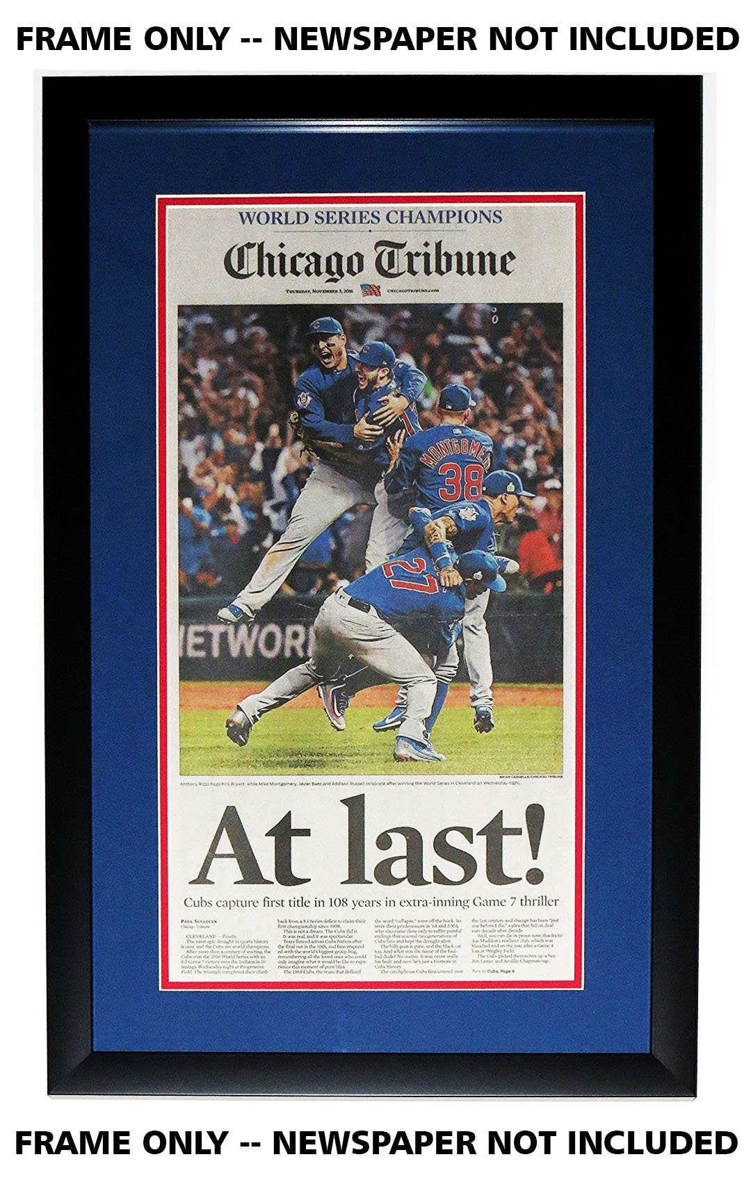 Chicago Tribune Newspaper Frame - with Cubs Double Mat