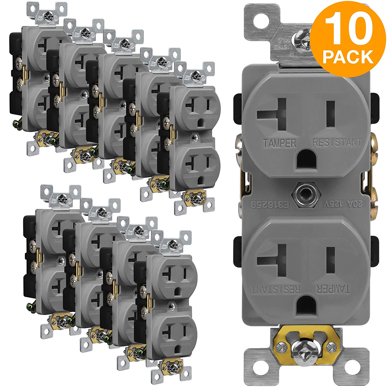 ENERLITES Duplex Outlet, Tamper-Resistant Receptacles, Industrial Grade,  3-Wire Grounding, 2-Pole, 5-20R, 20A 125V, UL Listed, 62080-TR-GY-10PCS,  Gray