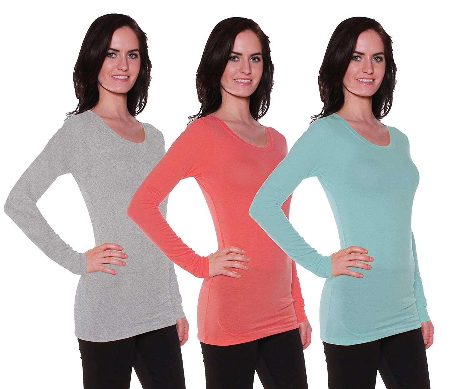 Active Products SHIRT レディース B06VVW8T99 Large|3 Pack - Soft Mint, Scarlet, H Grey 3 Pack - Soft Mint, Scarlet, H Grey Large