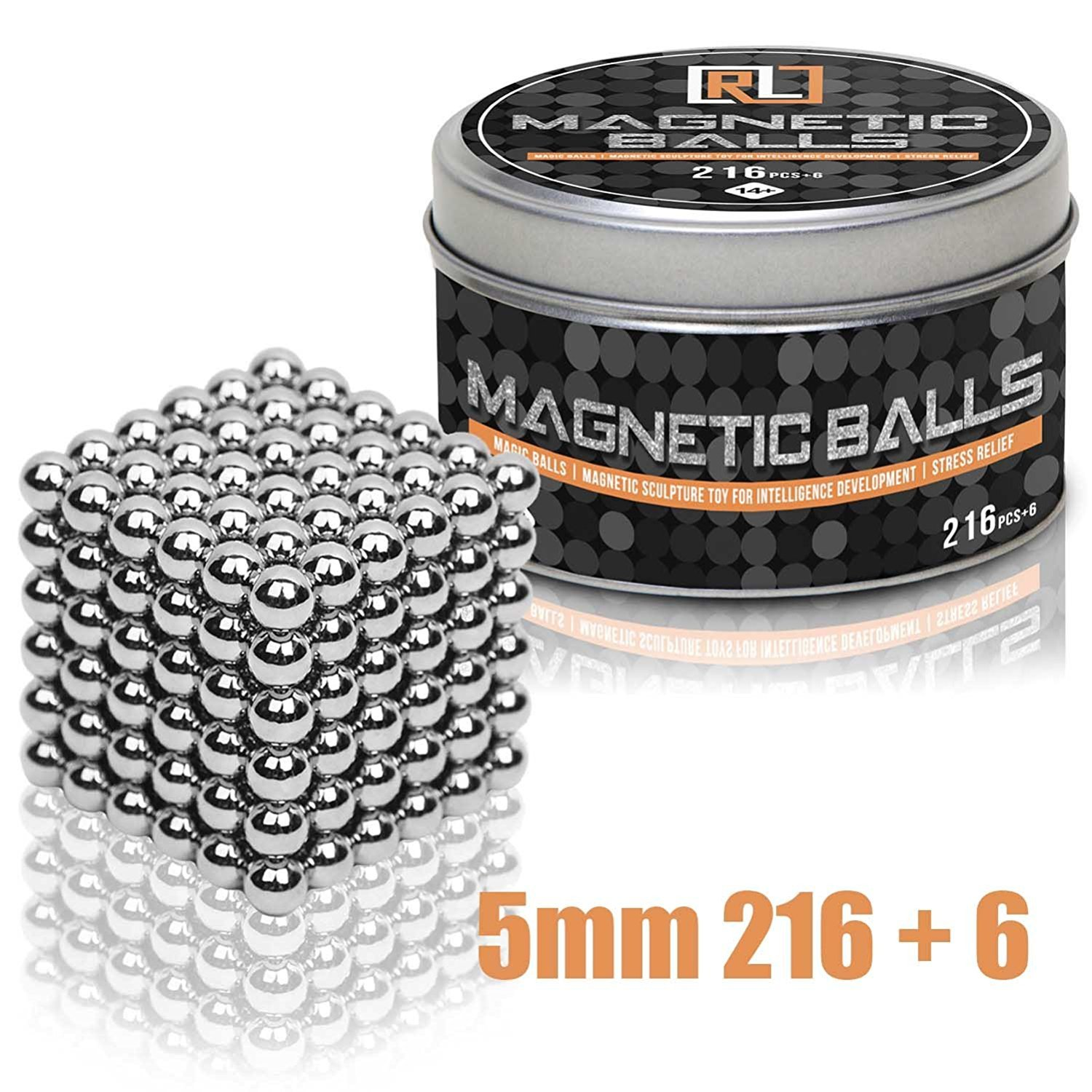 R&L Magnetic Sphere 216 PCS + 6 Magic Building Blocks Educational Fidget Toy Rollable Magnets Fidget Toys for Anxiety Stress Relief