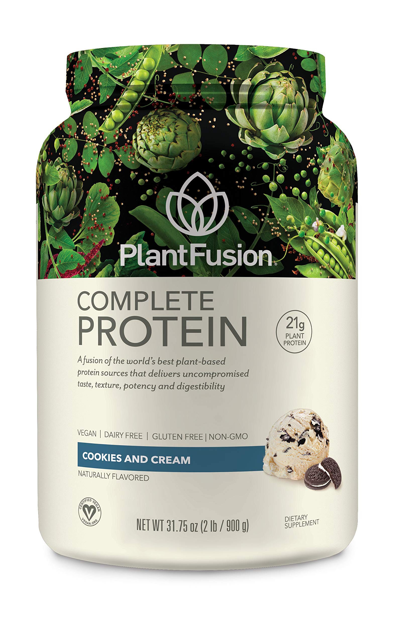 PlantFusion Complete Plant-Based Protein Powder, Gluten Free, Vegan, Non-GMO, Packing May Vary, Cookies N Crème, 2 Pound by PlantFusion