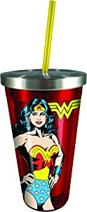Spoontiques Wonder Woman Stainless Cup Straw, Red